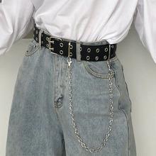 Kobiety punkowy łańcuszek modny pasek regulowany podwójny jeden rząd otwór oczko pas z oczkiem łańcuch ozdobne paski nowy 2020 Hot tanie tanio Dla dorosłych WOMEN 3 8cm Moda Stałe 1 5cm Women Punk Chain Fashion Belt