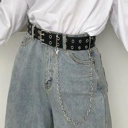 Cinturón con cadena Punk para mujer, cinturón ajustable con doble fila, ojal, cadena con ojal, cinturones decorativos, novedad de 2020