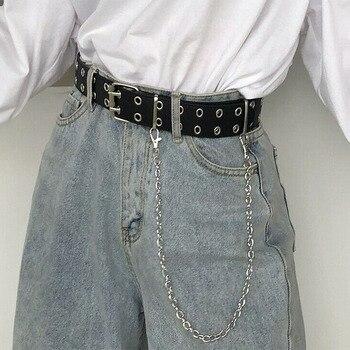 Zweireihig Loch Gürtel für Männer Frauen Punk Stil Bund mit Öse Kette Dekorative Gürtel für Jeans Hosen Hosen 2020 neue