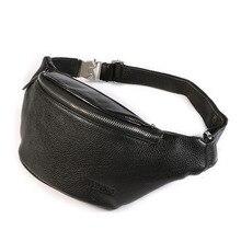 Waist Pack Men Belt Leather Bag Waistbag Natural  Fashion Genuine Fanny