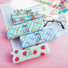 Fruit Pencil Case School Canvas Pencil Cases for Boys Girls Kawaii Watermelon Pencil Bag Zipper Pen Box School Supply Stationery watermelon pattern jelly pencil case