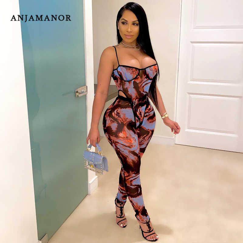 ANJAMANOR Fashion Cetak Mesh Tipis Celana Set Clubwear Melihat Melalui Jumpsuit Perempuan Dua Potong Pakaian Baju Legging D57-CD18