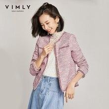 Vimly 2020 Spring Autumn Tweed Short Woolen Jacket Elegant Round Neck Long Sleeve Pockets Vintage Female Short Coat 98109