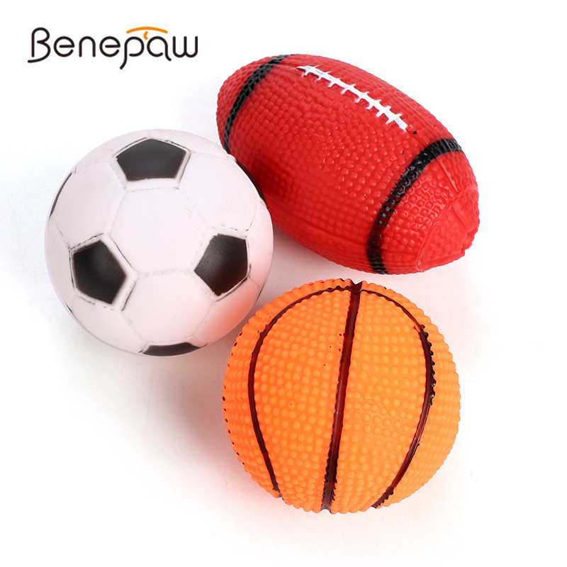 Benepaw Durable Squeaker Dog Ball Toy Football Basketball Soccer Sound Puppy Pet Chew Toys Interactive Nontoxic