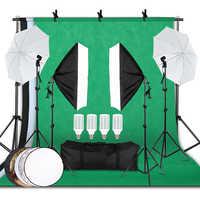 Kit de equipo de iluminación de fotografía profesional con Softbox Reflector paraguas Fondo De pie bombillas de fondo estudio de fotografía