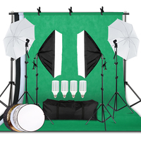 Professional Photography Lighting Equipment Kit with Softbox Reflector Umbrella background stand Backdrops Bulbs Photo Studio