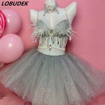 Women Bar Nightclub Performance Clothes Silver Gray Crystals Fringe Bra Bubble Skirt Dance Outfit DJ Singer Dance Team Costume