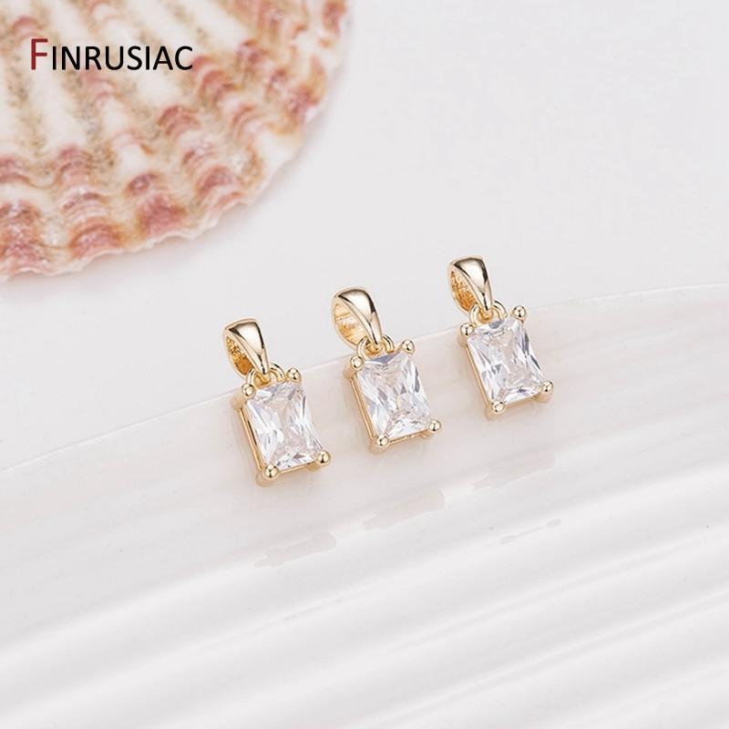 Корейская мода циркон небольшой прямоугольник/ромбовидный Кулон Шарм, сделай сам изготовление серьги ожерелья Фурнитура, материалы для из...