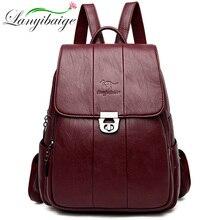 Women Leather Backpacks High Quality 2019 Female Vintage Backpack Travel Shoulder Bag School Bags For Girls Mochilas Feminina