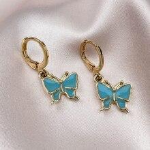 Charm Enamel Butterfly Earrings Jewelry Blue Color Bohemian Style Party Festival Gifts for Women