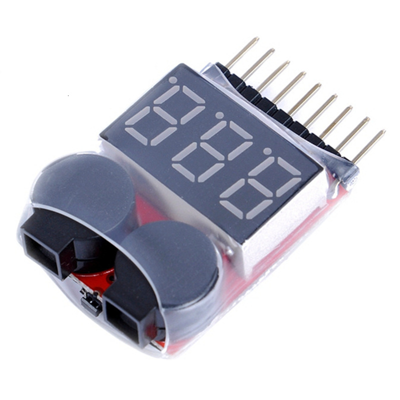 For 1S/2s/3s/4s/5s/6s/7s/8s Low Voltage Buzzer Alarm Lipo Battery Voltage Indicator Tester Wholesale Price For 3.7v 7.4v 11.1v