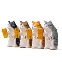 Zocdou 1 peça quente cerveja gato pequena estátua pequena estatueta resina artesanato figura ornamento miniaturas