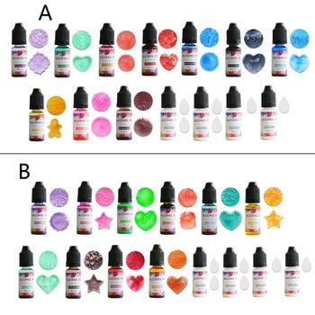 10 colors uv resin solid pigment kit poxy resin liquid colorant dye jewelry diy u4le 14 Colors 10ML Art Ink Alcohol Resin Pigment Kit Liquid Resin Colorant Dye Ink Diffusion UV Epoxy Resin Jewelry Making