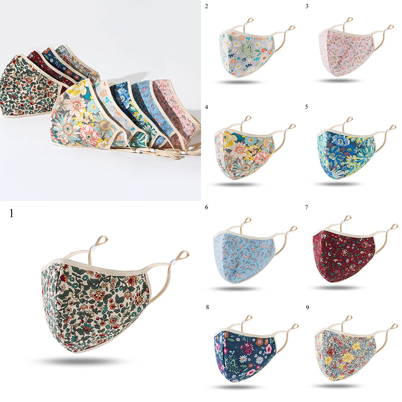 Flower Print Face Mouth Mask For Women Reusable Sunscreen Mouth Muffle Washable Reusable Windproof Mouth Cover Fabric Masks
