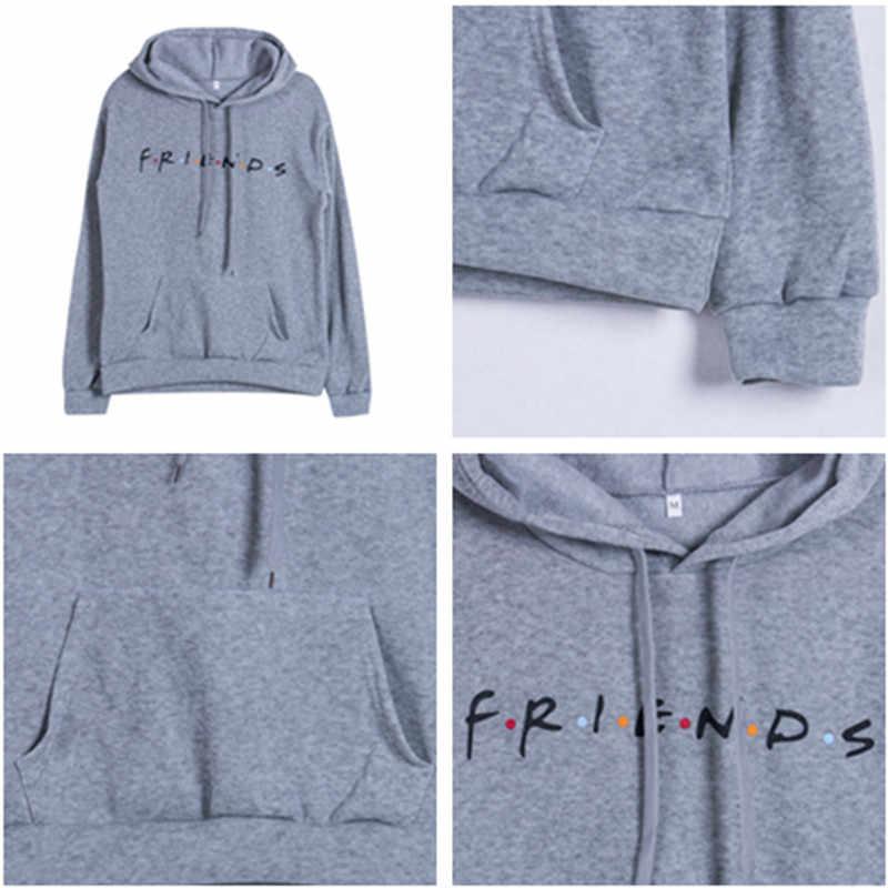 Harajuku Hoodie Teman Wanita Sweatshirt Pullover Keren Huruf Elegan Wanita Olahraga Sweatshirt Putih Hitam Kasual Hoodies