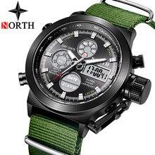 Kuzey izle erkekler naylon kayış Mens saatler üst marka lüks LED elektronik Analog kuvars saatler erkekler Casual askeri spor saati