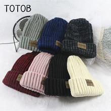 цена на Korean mixed color labeling thickening wool hat men and women autumn and winter couple outdoor leisure warm knit hat