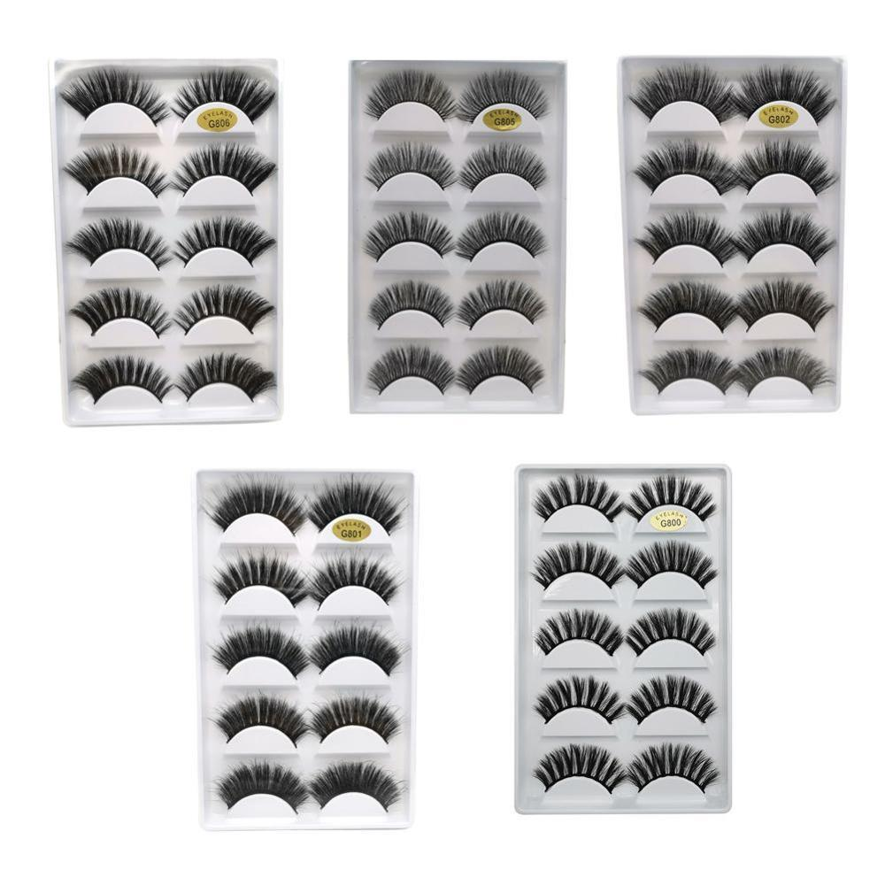 3D 5 Pairs Eyelashes Hand Made Reusable Natural Long Eyelashes 3D Mink Lashes Soft Dramatic Eye Lashes For Makeup Mink