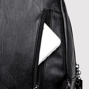 Image 5 - נשים תרמילי עור רוכסן נשי חזה תיק sac Dos נסיעה חזרה גבירותיי Bagpack מוצ ילאס תיקי בית הספר בנות