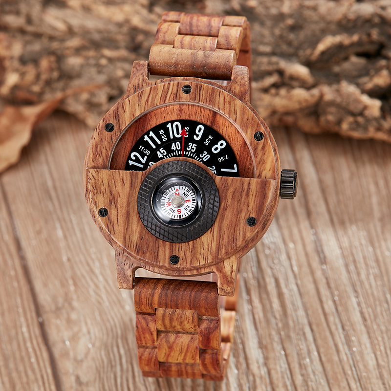 banda de madeira sólida natural relógios de