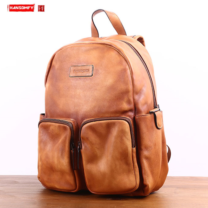 The first layer of leather large-capacity backpack Men's leather retro schoolbag Men fashion trend travel backpack laptop bag