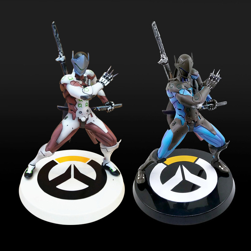 Anime Game Overwatch Genji Changeable Hands Black White Figure Dolls 27cm