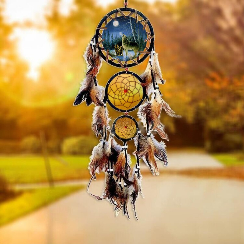 Eagle Feather Dream Catcher Big 3 Iron Ring Indoor Pendant Indian Dream Catcher Pendant Gift Gift Wedding Decoration
