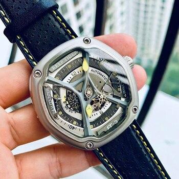 цена Reef Tiger/RT Luxury Dive Sport Watch Luminous Dial Nylon/Leather/Rubber Strap Automatic Creative Design Watch RGA90S7 онлайн в 2017 году