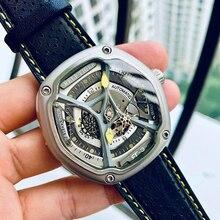 Reef Tiger/RT reloj deportivo de buceo de lujo, correa de Nailon/cuero/Goma Esfera luminosa, diseño creativo automático, RGA90S7