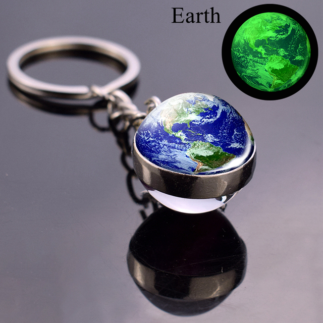 Luminous Moon Glass Ball Key Chain Earth Sun Jupiter Planet Keychain Galaxy Solar System Jewelry Glow The Dark Pendant Gift 1