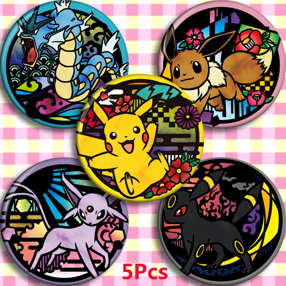 58mm Anime Pokemon Cosplay Badge Cartoon Collect Backpack Bag Badge Button Brooch Pin Bag Pendant Xmas Gifts
