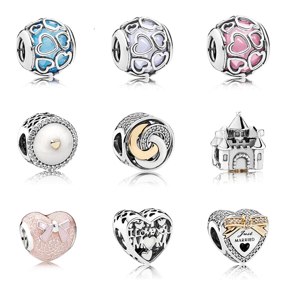 S925 Sterling Silver Rose Bow And Lace Heart-shaped Winding Series Love Charm For Bracelets To Mend Their Original Ladies Jewelr