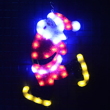 2D xmas santa clause skating decoracion navidad exterior LED christmas tree garland light room lights decor