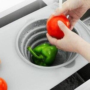 Image 3 - 3 в 1 многофункциональное измельчение продуктов Съемная Складная Силиконовая корзина для слива овощей Антибактериальный кухонный инструмент для резки