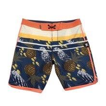 Мужские пляжные шорты в полоску, эластичные штаны для серфинга, с принтом ананаса, водонепроницаемая быстросохнущая одежда для плавания, 18 ...