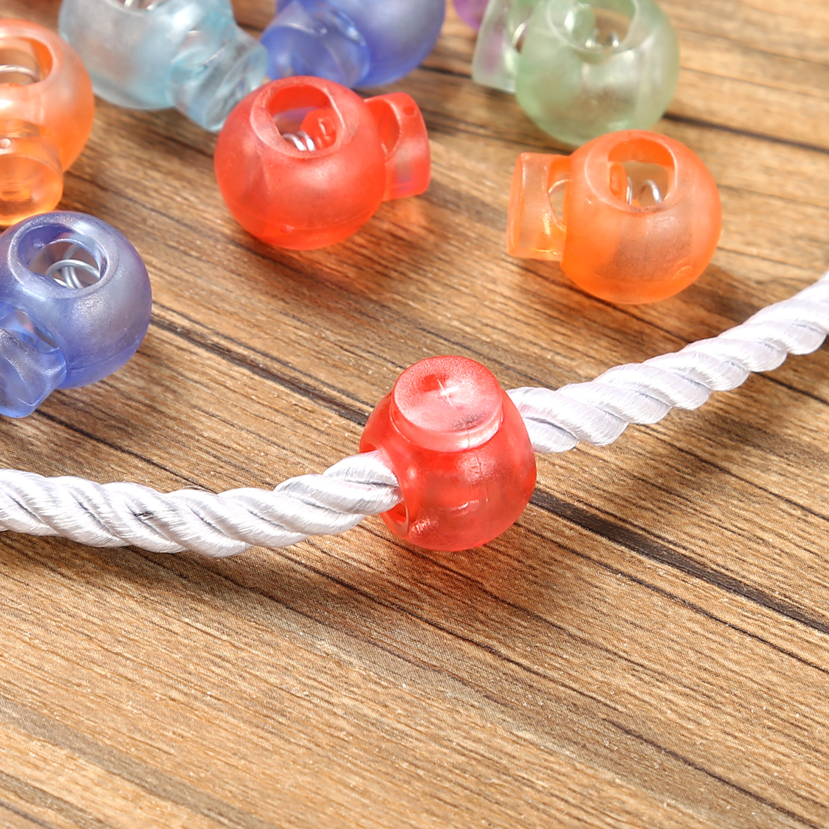 Discount§Fastener Buttons Rope Clip-Ends Cord-Locks Ball-Shape Drawstring Elastic Single-Hole