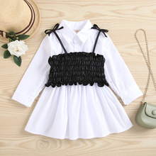 Kids Clothes Girls vestidos Long Sleeve Two Pieces White Blouse Shirts Dress+PU Leather Vest Pleated Crop Tops Children Dresses