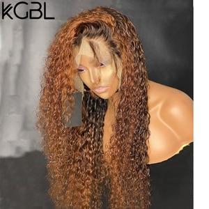 """Image 4 - KGBL кудрявые 360 Ombre передний парик человеческих волос с волосами ребенка 250 плотность 8 """" 24"""" бразильский Non Remy средний коэффициент для черных женщин"""