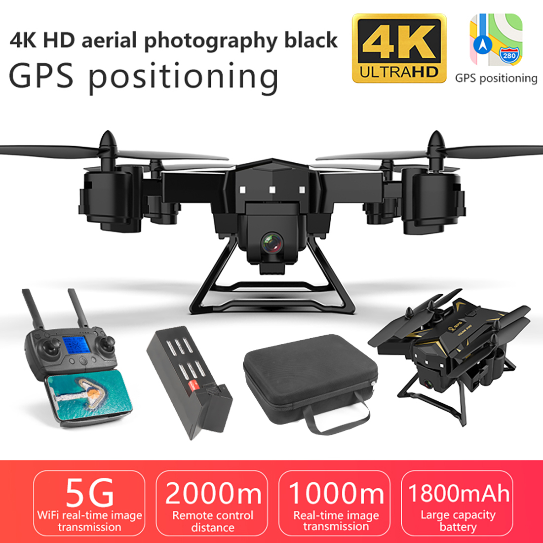 5G WIFI FPV Drone Pro Foldable GPS Drone KY601G 4K HD Camera LED 2.4G 4CH 1.8km Long Distance 20 Mins Flight RC Quadcopter