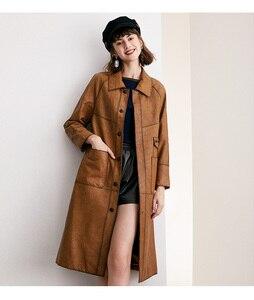 Image 2 - หนังผู้หญิงสั้นหัวรถจักร 100% Sheepskin Slim Coat ขนาดกลางยาว
