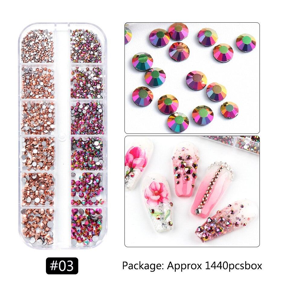 1440pcs Colorful Crystal Stones Nail Rhinestone Diamond 3D Flatback Glitter Strass Gems Nail Art Decorations Accessories 5