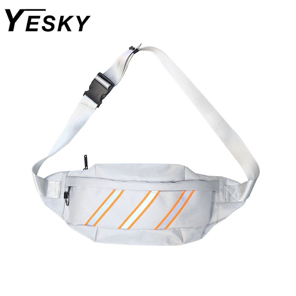 YESKY 2020 New Men Chest Bag Fanny Pack Women's Waist Bag Belt Waist Pack Street Cool Reflective Geometric Luminous Banana Bag