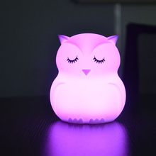 Cute Owl Cartoon LED Lamp Colorful  Creative Silicone Night Light Children's Toy Lamp Bedroom Decoration USB charging Light