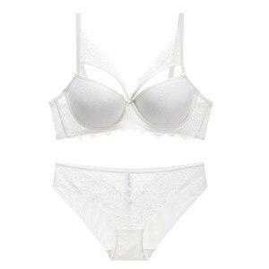 Image 2 - Conjunto de ropa interior de encaje calado para mujer, sujetador ajustable de realce fino grueso y bragas transparentes gruesas íntimas para chica