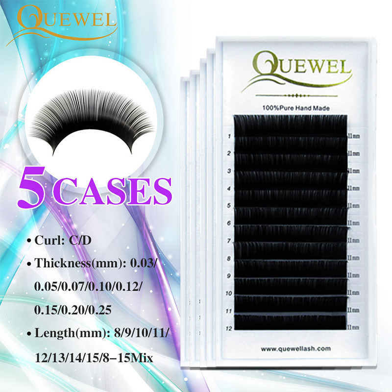 Individual Eyelashes Extension False Mink Volume Eyelash Extensions Lash Silk Fiber Natural Thick Soft Lash Professional Quewel-in False Eyelashes from Beauty & Health