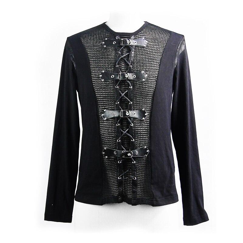 Devil Fashion Men Tops Hot Sale Rock Punk Buckle Mesh Long Sleeve T Shirt Men Vest - 4