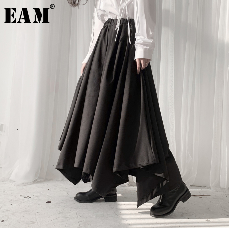 [EAM] High Elastic Waist Black Asymmetrical Wide LegTrousers New Loose Fit Pants Women Fashion Tide Spring Autumn 2020 19A-a532