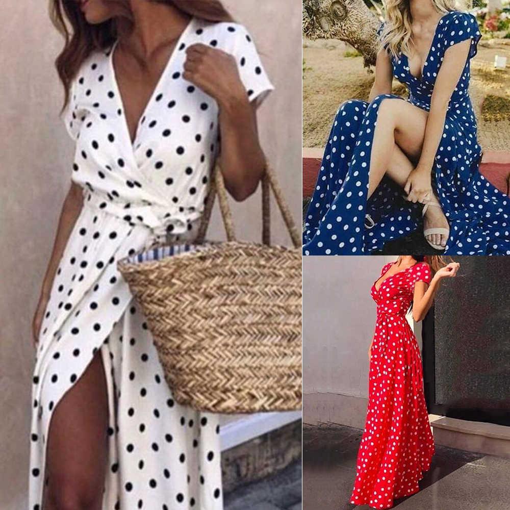 섹시한 여성 비치 드레스 롱 닷 딥 브이 sundress 튜닉 수영복 화이트 비키니 커버 수영복 드레스 vestidos mujer ropa de playa