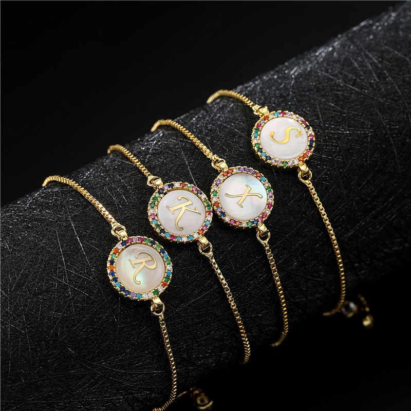 NEWBUY ססגוני מעוקב ZIrconia 26 אלפבית מכתב קסם צמיד Femme זהב שרשרת פגז צמיד לנשים המפלגה תכשיטים
