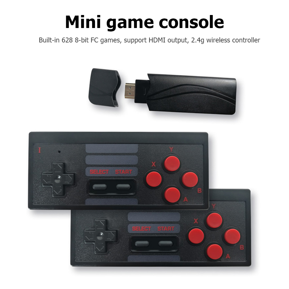 4K HDMI Video Game Console Built in 628 Classic Games Mini Retro Console Wireless Handheld Controller HDMI Output Dual Players
